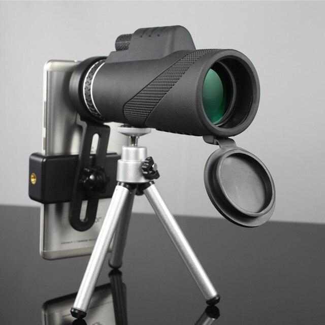 Monoküler 40x60 yakınlaştırma HD profesyonel dürbün teleskop gece görüş askeri Spyglass telefon tutucu Tripod avcılık Turizm