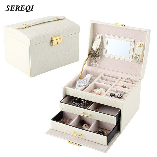 SEREQI Cosmetics Case Necklace Lipstick Toiletries Jewelry Organizer
