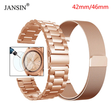 JANSIN Stainless Steel Metal Band+Milanese Loop Bracelet Strap For Samsung Galaxy Watch 42mm 46mm With Screen Protection Film