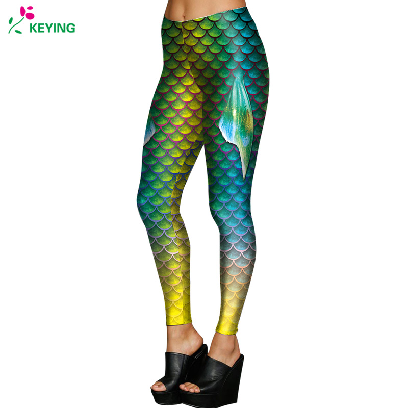 KEYING 3D Printed Leggings Mermaid Fish Scale Workout Legins Women Casual Elastic   Pants     Capri   Push Up Fitness Leggings 2018