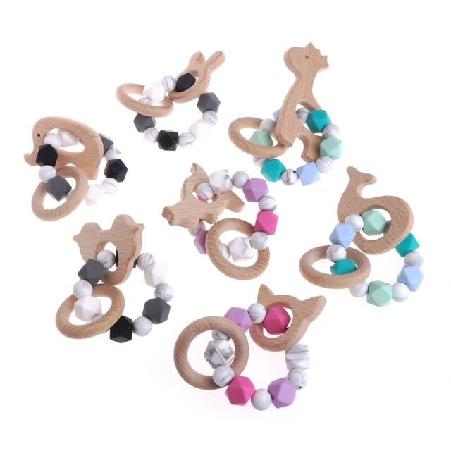 1 Pc Baby Nursing Bracelets Wooden Teether Silicone Chew Beads Teething Rattles Toys Cute Hot