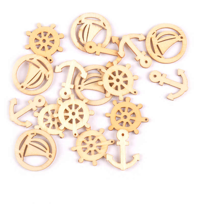 50Pcs 25mm Scrapbooking Carfts Handmade Art Accessories Mixed  Rudder sailboat Shape Natural Wooden Craft For f5d332f0e43f