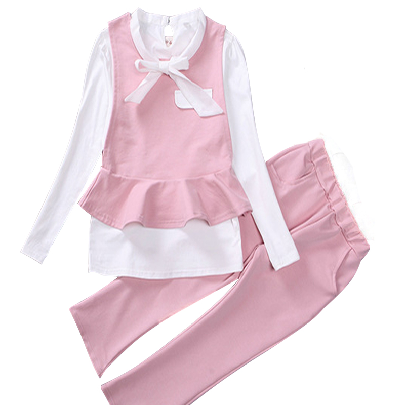 Girl Clothes Set for Kids Cotton Girls Clothing Sets Autumn Fashion Shirt 3Pcs Black Vest+White Bowknot Long Sleeve Blouse+Pants