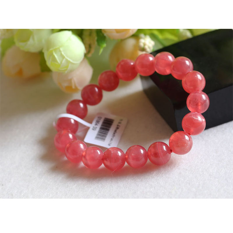 Top Grade Genuine Natural Argentina Red Rhodochrosite Stretch Finished Bracelet Round beads 10mm Jewelry Beads Marriage 01864