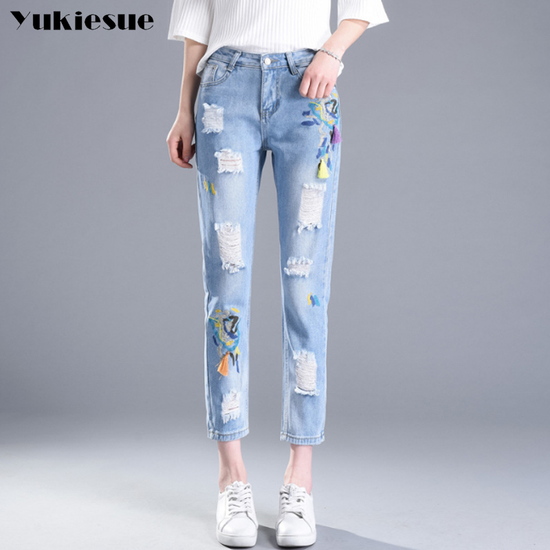 High Waist Embroidery Jeans women Ripped Woman Fashion Floral hole Denim Pants pencil Trousers For Women Jeans boyfriend 2017 new jeans women spring pants high waist thin slim elastic waist pencil pants fashion denim trousers 3 color plus size