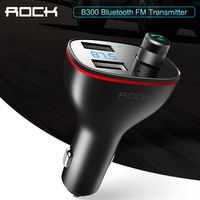 ROCK B300 Bluetooth FM Transmitter 4.2 USB Car Charger Digital Aluminium Alloy Fast quick Charging Monitoring For iPhone Samsung Car Chargers     -