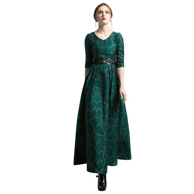 755507d66de S-XXXL Vintage Jacquard Women Pleat Maxi Green Party Night Dress Plus Size  2 3 Sleeve Swing Long Dresses Luxury Robe 6196