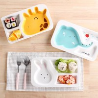 AYC cartoon ceramic baby children's Japanese tableware dinner plate grid plate creative separation children's breakfast dish bow