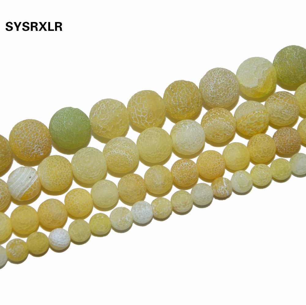 Jewelry & Accessories Alert Free Shipping Yellow Weathered Frosted Agat Onyx Round Loose Beads For Jewelry Making Diy Bracelet Necklace 6 8 10 12 Mm Strand We Take Customers As Our Gods