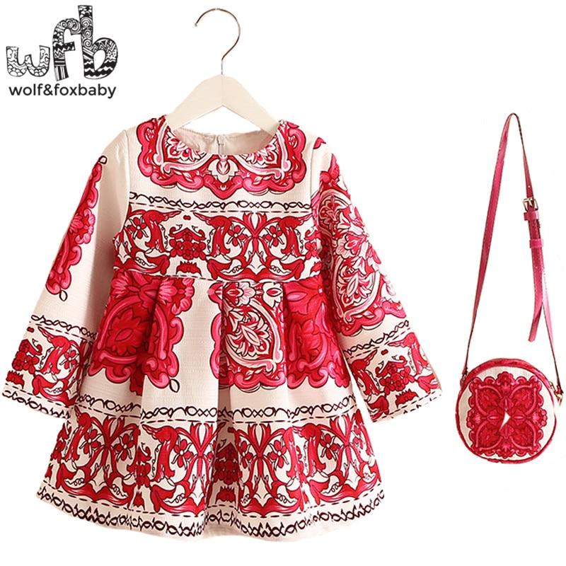 Retail 2-8years Dress+Bag/set New Cute Kids Baby Girl Summer Spring Fall Long-Sleeve Perfume Princess Flower Chinese style 2016