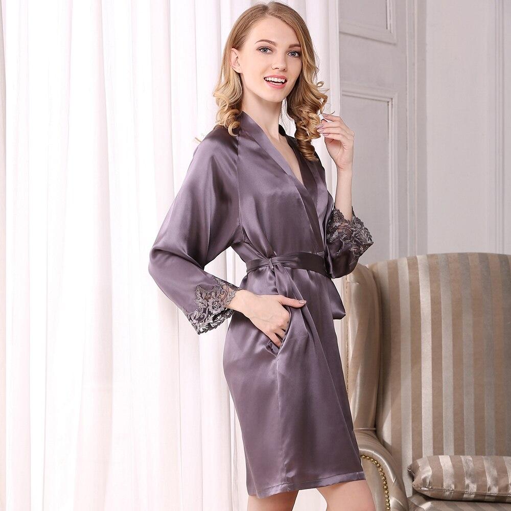Clearance Sale≈Robe-Set Sleepwear Clothing Nightgowns V-Neck Purple Black Women Summer Silk Beige Long