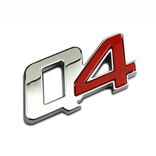 6×2.7cm Red Silver Quality ABS Chrome Q4 Four Quattro Car Styling Refitting Emblem Badge 3D Sticker Trunk Logo for Maserati