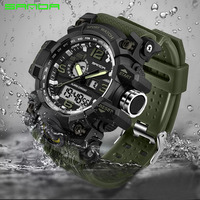 SANDA Luxury Brand Mens Sports Watches Dive 30m Quartz Digital LED Military Watch Men Fashion Casual