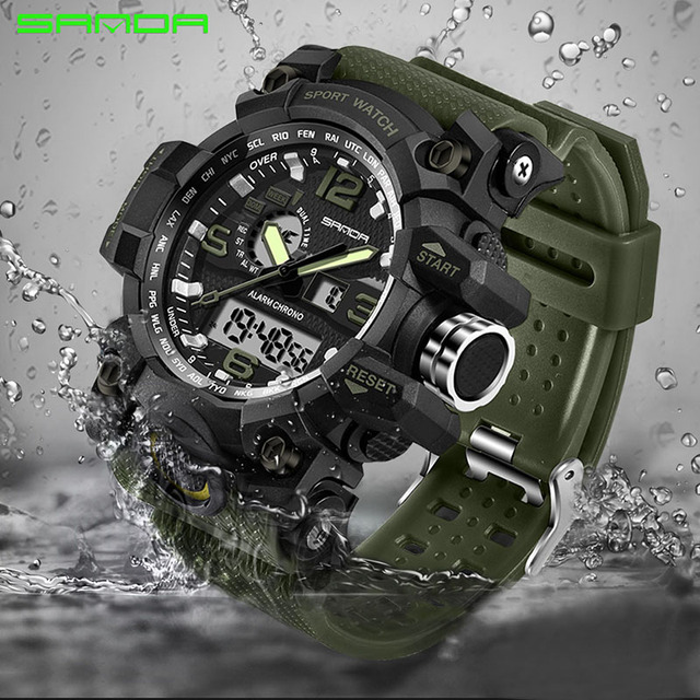 SANDA Luxury Brand Mens Sports Watches Dive Quartz Digital LED Military Watch Men Fashion Big Dial Watches relogio masculino