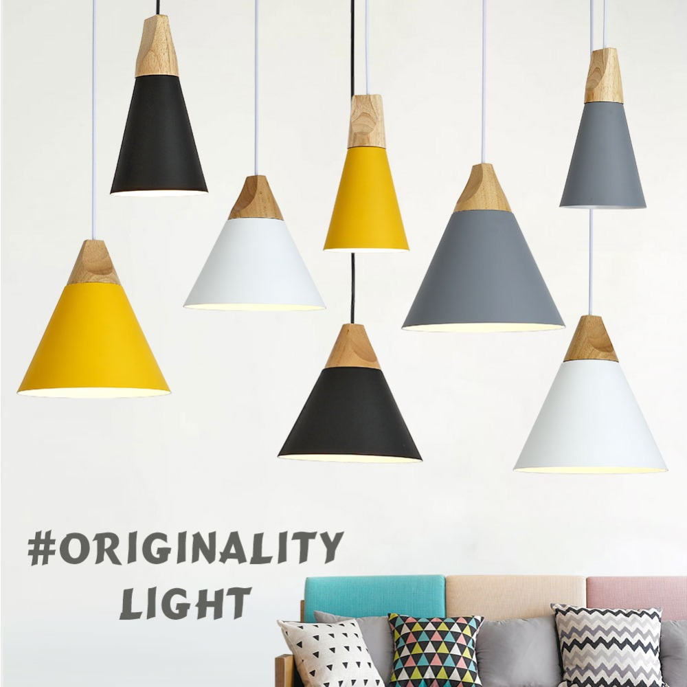 Modern Pendant Lights Wood Colorful Lamp Nordic Metal Aluminum Hanging Kitchen Lampshade Dining Room For Home Lighting Fixture