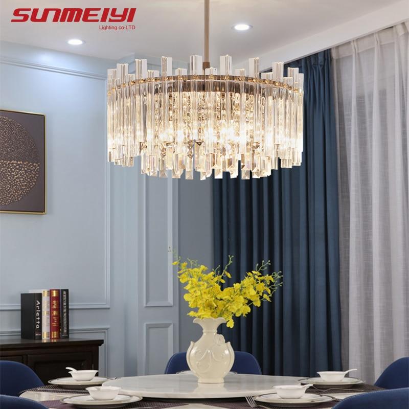 Modern Crystal Chandeliers Ceiling Square/Round Hanging LED Chandelier For Living Room Bedroom Kitchen Nordic Dining Room Light