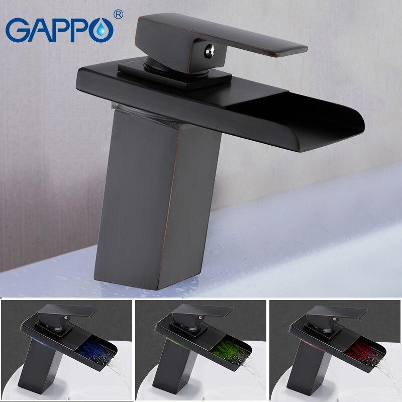 GAPPO смеситель для раковины, светодиодный раковина, смеситель для ванной, смеситель для воды, Черный кран с одной ручкой, на бортике, torneira do ...