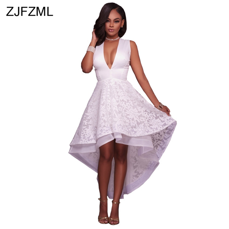 Special design 2018 popular white lace floral dress sexy deep v neck front short and long back dress women retro maxi dress