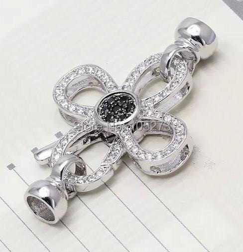 Cristal perle bijoux bricolage perles collier bracelet fermoir, haute qualité quatre quel collier bijoux accessoires, vente en gros-L17