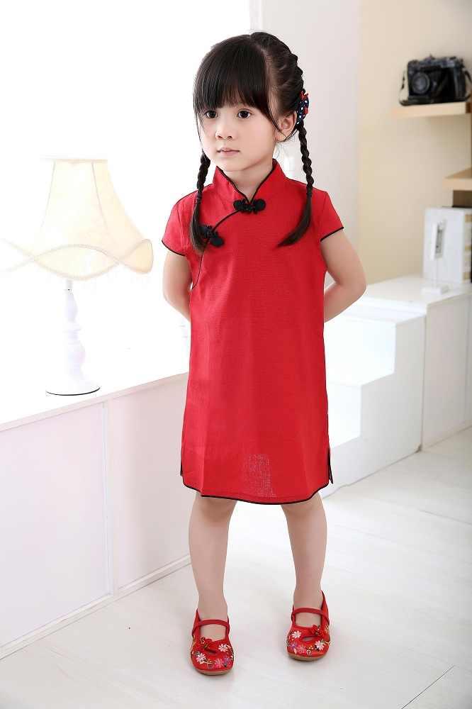 固体ベビー女の子ドレス中国新年伝統袍子供カイpao子供チャイナリネン女の子の服夏トップス