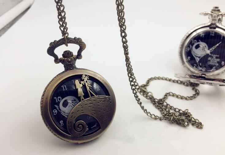 60a2dd403 ... Nightmare Before Christmas Jack Skellington Tim Burton Movie Kid Toys  Watches Fashion Black Quarzt Pocket Watch