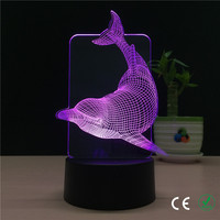 Foreign Trade New Cool Dolphins Personality 3 D A Night Light 7 Colour Creative LED Visual
