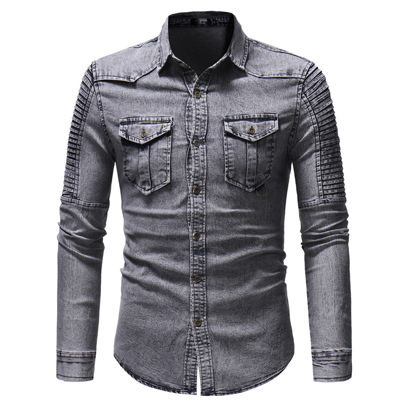 2019 Men's Spring and Autumn Washed Pleated Pocket Single-breasted Denim Shirt / Premium European and American Slim Long Sleeve