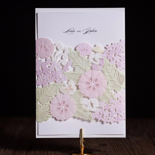 Bien-aimé 100 Pcs Multicolore Flore De Mariage Blanc Carte D'invitation  KM88