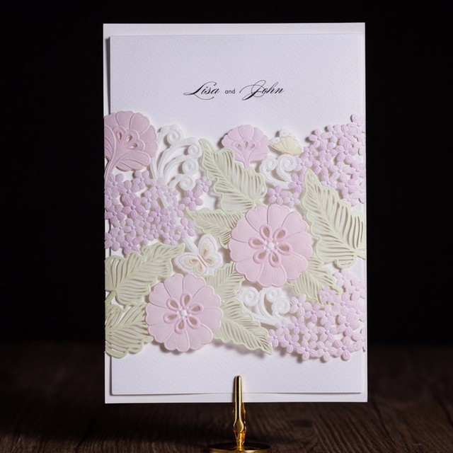 100Pcs Multicolor Flora Blank Wedding Invitation Card Envelope Seal Personalized Print Birthday Party Free Shipping CW5178