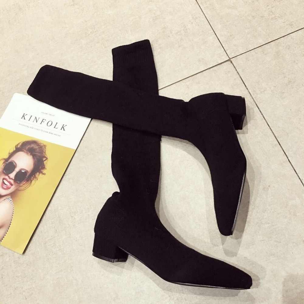 Oberschenkel Hohe wolle socke stiefel preppy genäht gestrickte kurze japan lange schlank über knie booties frauen block heels schuhe damen casual