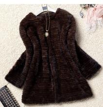 Women Winter Natural Knitted Mink Fur Overcoat Belt Fashion Overwear knitting Mink Fur jacket Plus Size Black dark brown color