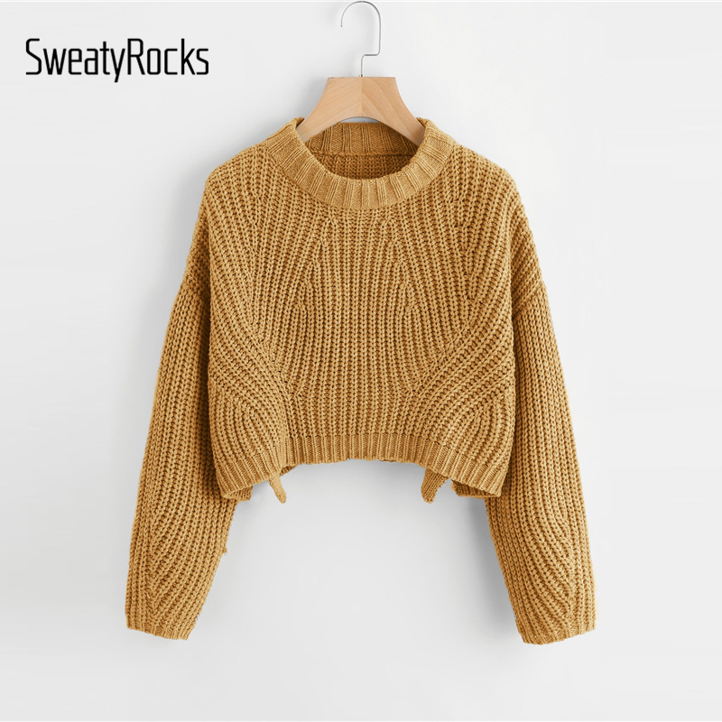 3c57d272fc976e Detail Feedback Questions about SweatyRocks Ginger Vented Edge Chunky Knit  Crop Jumper Long Sleeve Split Pullovers Tops 2018 Autumn Women Casual  Sweaters on ...