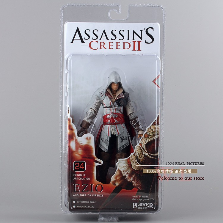 Free Shipping Popular Game NECA Assassin's Creed II 18cm EZIO PVC Action Figurine Collection Toys White 20cm plush cartoon red blue owl toy pendant stuffed dolls baby kids children kawaii gift toys home shop decoration triver