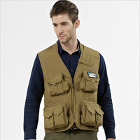 Men Vest Casual Male Big Size 4XL 3XL Mesh Waistcoat With Many Pockets Multi Function Army Green Summer Vest A3228