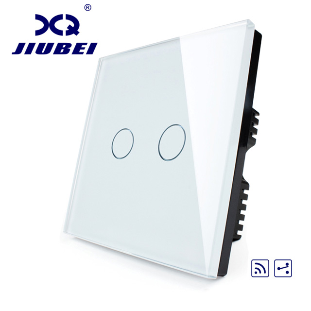 Jiubei Smart Switch, Ivory White Crystal Glass Panel,UK standard, 2 gang & Remote Home Wall Light Switch  C602SR-11/12/13 smart home uk standard crystal glass panel wireless remote control 1 gang 1 way wall touch switch screen light switch ac 220v