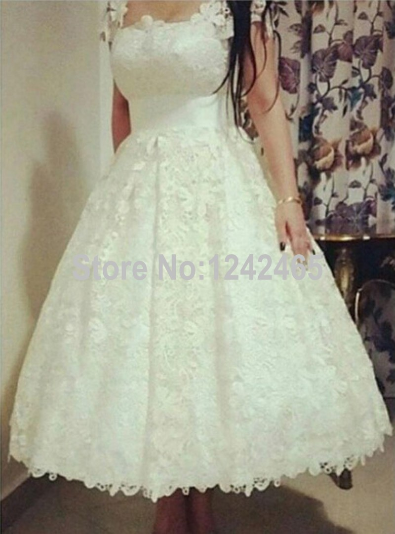 Buy puffy scoop lace imported wedding for Lace ankle length wedding dress