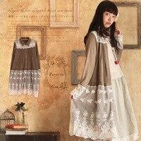 Spring Autumn Mori Girl Sweet Dress Women S Turn Down Collar Lace Ruffle Full Sleeve Floral