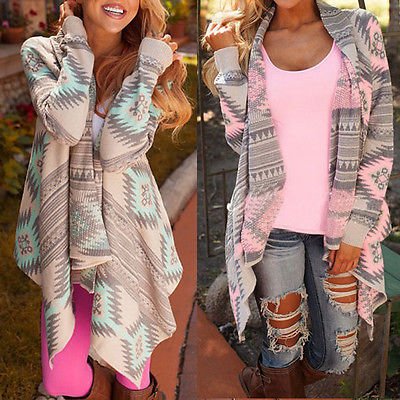 Vendimia Femenina 2015 Abrigo de Mujer de Manga Larga de Punto Cardigan Suéteres Casuales De Moda Geométrica Imprimir Mantón Del Suéter Outwear