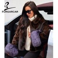 FURSARCAR новый натуральный мех норки пальто Для женщин Зимняя натуральная Кожаная куртка с манжеты из лисьего меха женская мода короткая норко
