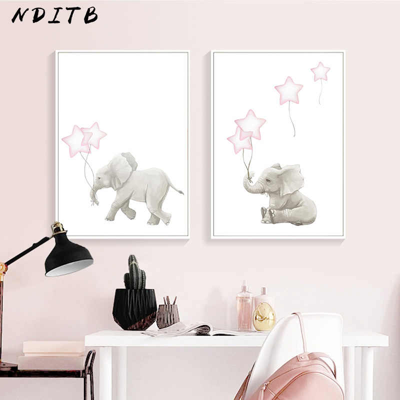 Nditb Lovely Elephant Baby Nursery Wall