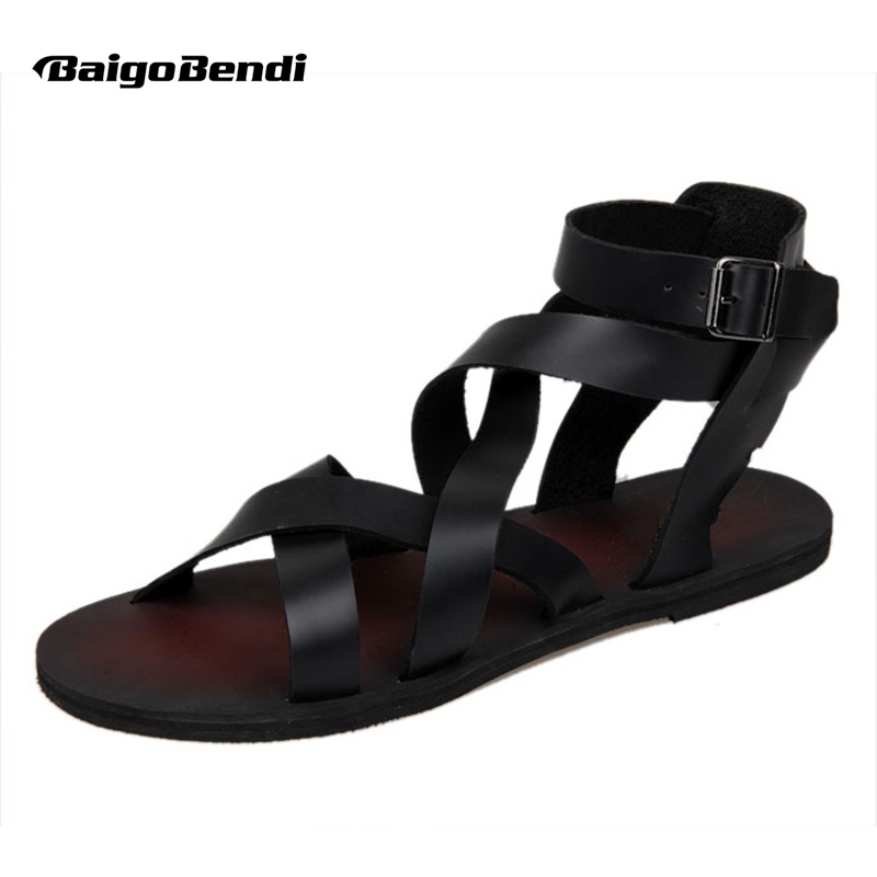 New Summer Lelaki Buckle Tali Kasut Pantai Roman Gladiator Sandal Kulit Berbaris Cross-tied
