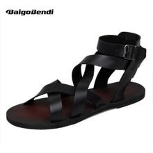Los nuevos Hombres del Verano Hebilla Correa Zapatos de Gladiador Romano-atado Cruz Sandalias de Cuero de Playa