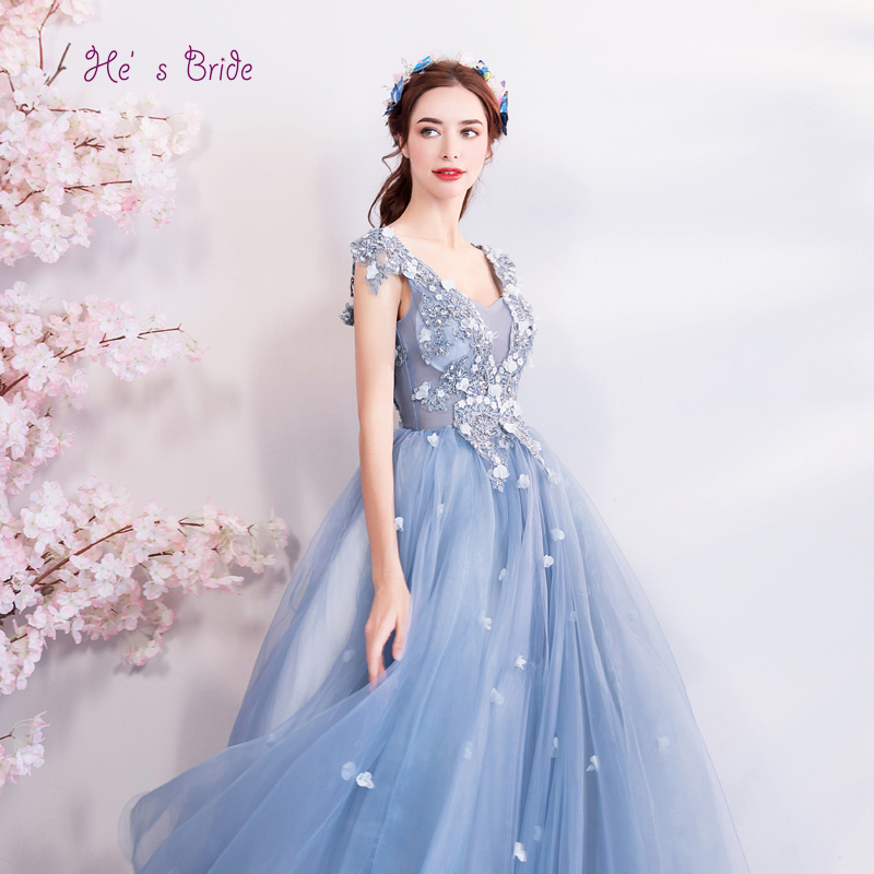 He's Bride Blue New Elegant Evening Dresses V-neck Sleeveless Ankle-Length Floral Print Appliques Prom Party Gown Robe De Soiree