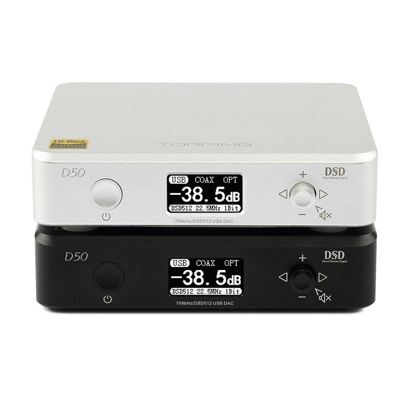 TOPPING D50 HIFI AUDIO Decoder ES9038Q2M * 2 USB DAC DSD512 32Bit/768 khz Nero Argento di ALTA QUALITÀ