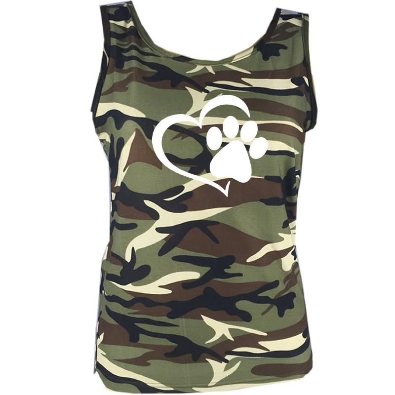 Camouflage Dog Paw Print T Shirt Sparklebejewels
