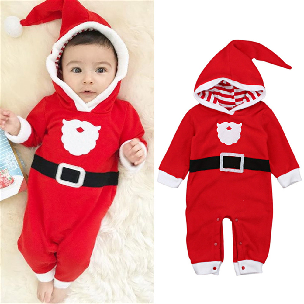 Cosplay Christmas baby clothes santa claus uniform red newborn hooded jumpsuit for kids boys girls winter Christmas costumes