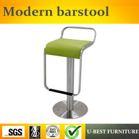 Free shipping U BEST stainless steel upholstered bar counter stool high chair,adjustable metal pub bar high chair