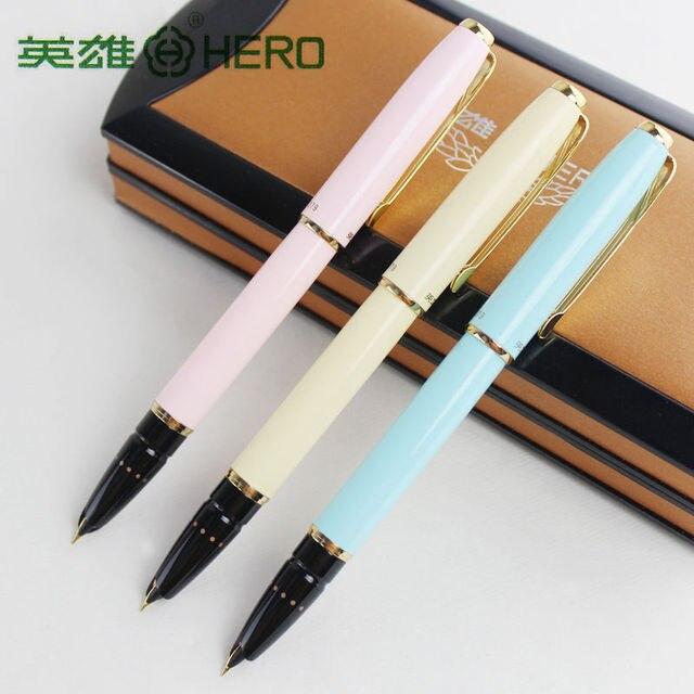 Оригинальные ручки Hero 1079 ультратонкая ручка 0,38 мм Студенческая слово офисная бизнес Подарочная коробка черный розовый синий элегантные дамы Бесплатная доставка