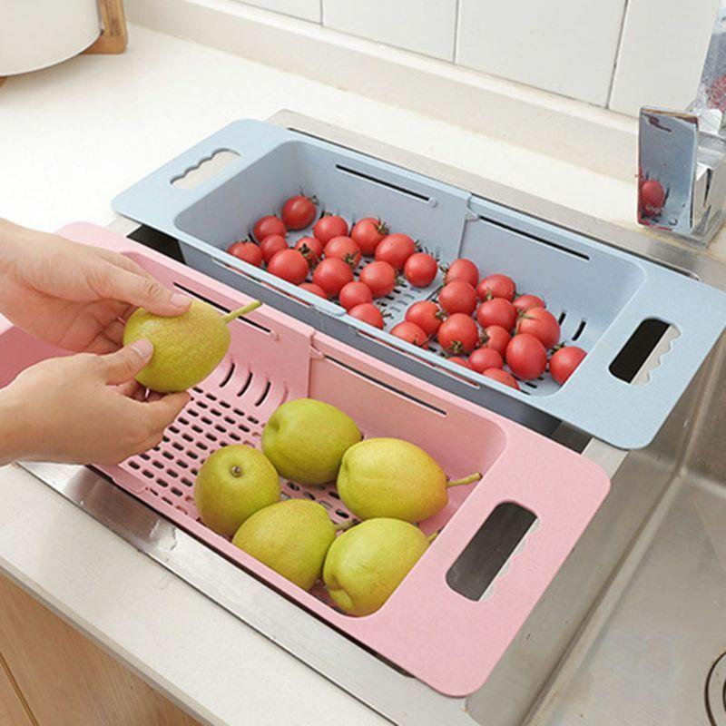 Image 2 - Kitchen Sink Dish Drainer Drying Rack Washing Holder Basket Great Organizer Kitchen Strainer Colander Tray Storage Basket New-in Racks & Holders from Home & Garden
