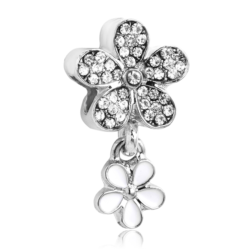 2019 spring new europea silver white enamel  u0026 clear crystal dazzling daisy duo bead charm fit